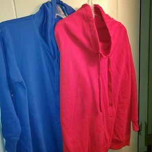 2 cowl neck sweat shirts 1x